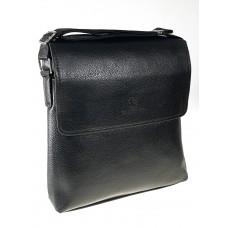 На фото 1 - Мужская сумка-планшет из экокожи, чёрная через плечо
