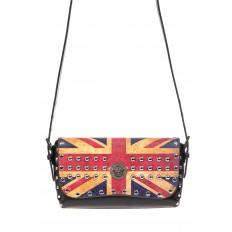 На фото 2 - Женская сумка из кожи с принтом, цвет черный