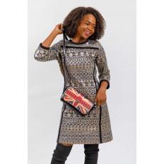 На фото 5 - Женская сумка из кожи с принтом, цвет черный