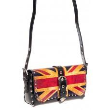 На фото 1 - Кожаная сумка с принтом, цвет черный