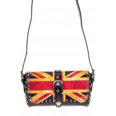 На фото 2 - Кожаная сумка с принтом, цвет черный