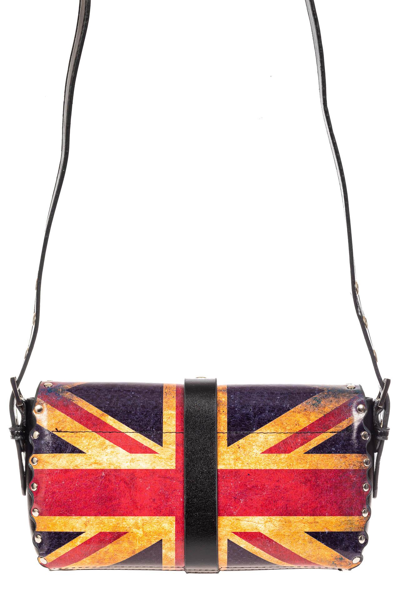 На фото 3 - Кожаная сумка с принтом, цвет черный