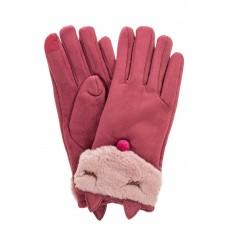 На фото 1 - Перчатки женские из велюра, цвет пудрово-бордовый