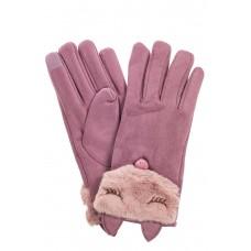 На фото 1 - Перчатки женские из велюра, цвет светло-сиреневый