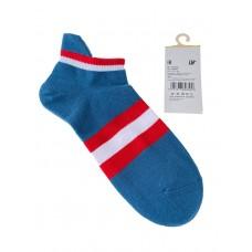 На фото 1 - Женские носки в полоску с высокой пяткой, цвет бирюзовый