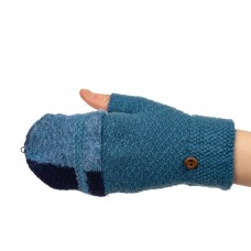 На фото 1 - Перчатки без пальцев женские, митенки, цвет синий