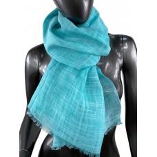 На фото 1 - Лёгкий шейный платок из хлопка и бамбука, цвет ярко-бирюзовый