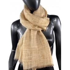 На фото 1 - Лёгкий шейный платок из хлопка и бамбука, цвет песочный