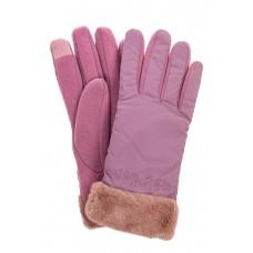 На фото 1 - Классические перчатки женские с мехом, цвет пудра