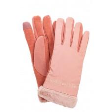 На фото 1 - Классические перчатки женские с мехом и вышивкой, цвет розовый