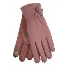 На фото 1 - Утеплённые женские перчатки из непромокаемого материала и велюра с украшением, цвет розовый