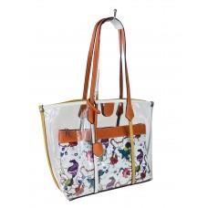На фото 1 - Прозрачная летняя сумка из ПВХ с текстильной косметичкой, цвет оранжевый
