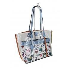На фото 1 - Прозрачная летняя сумка из ПВХ с текстильной косметичкой, цвет голубой