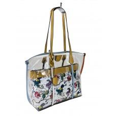 На фото 1 - Прозрачная летняя сумка из ПВХ с текстильной косметичкой, цвет жёлтый