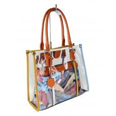 На фото 1 - Летняя прозрачная сумка из ПВХ с косметичкой из текстиля, цвет оранжевый