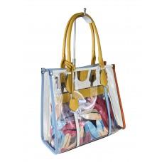 На фото 1 - Летняя прозрачная сумка из ПВХ с косметичкой из текстиля, цвет жёлтый