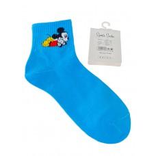 На фото 1 - Носки молодёжные из хлопка с принтом, цвет голубой