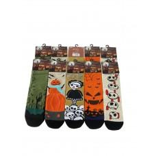 На фото 1 - Молодёжные носки с принтом хэллоуин, 10 пар