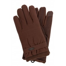 На фото 1 - Утепленные перчатки мужские из текстиля и велюра, цвет коричневый