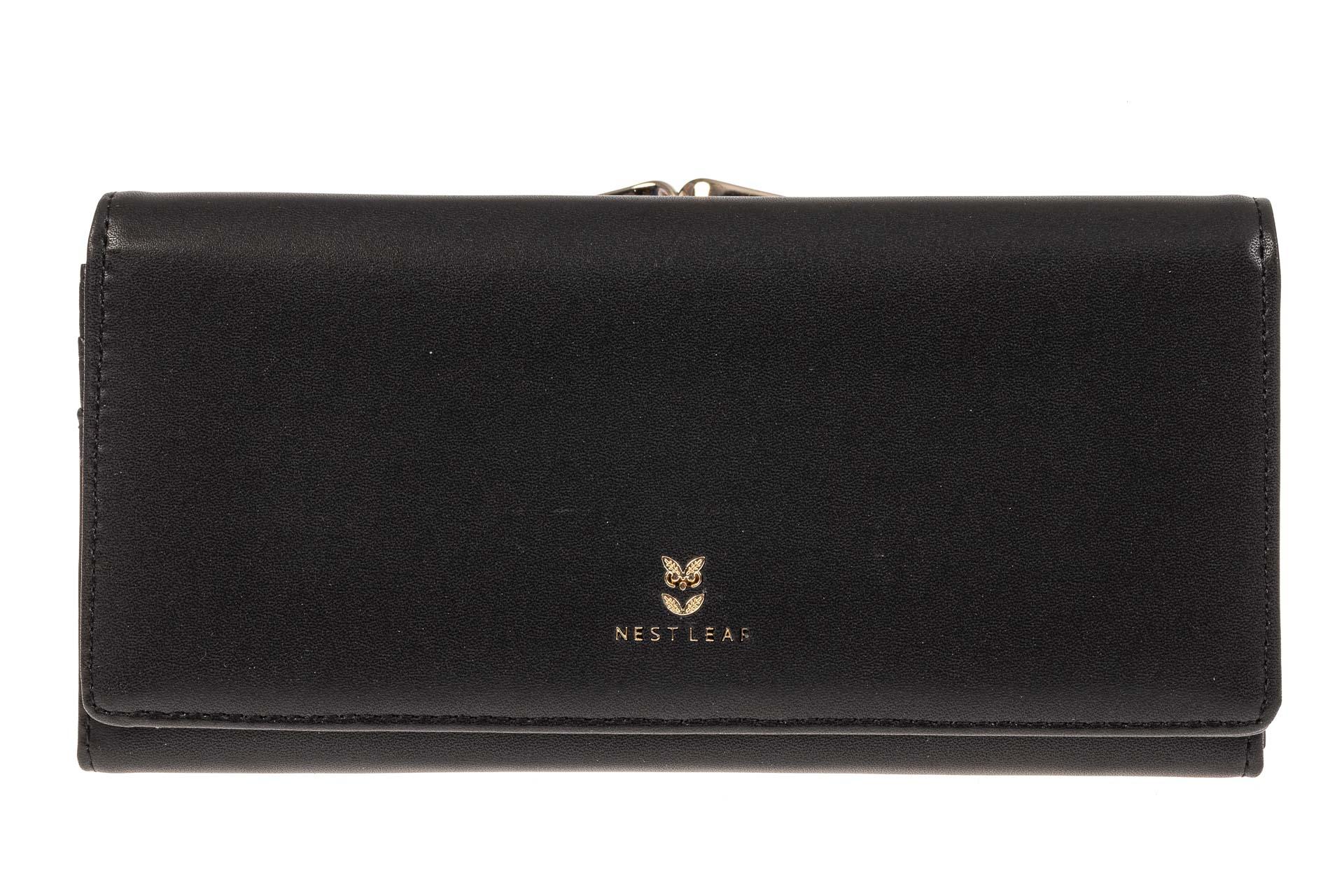 На фото 1 - Женский кошелек из искусственной кожи с фермуаром, цвет черный