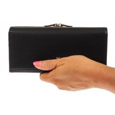 На фото 3 - Женский кошелек из искусственной кожи с фермуаром, цвет черный