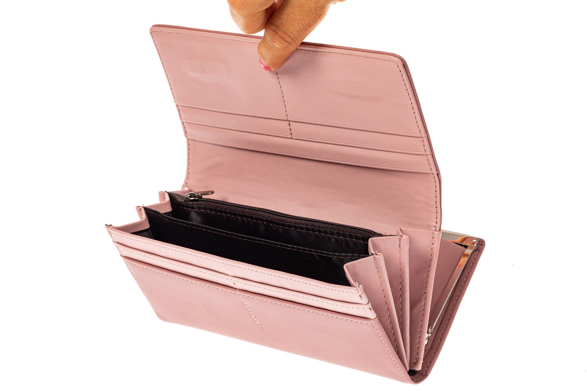 На фото 2 - Женский кошелек из искусственной кожи с фермуаром, цвет розовый
