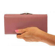 На фото 3 - Женский кошелек из искусственной кожи с фермуаром, цвет розовый