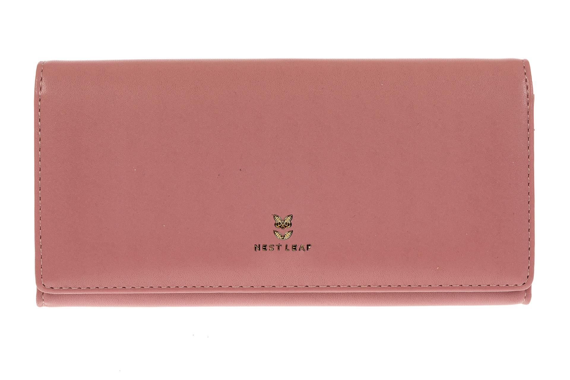 На фото 1 - Женский кошелек из искусственной кожи, цвет розовый