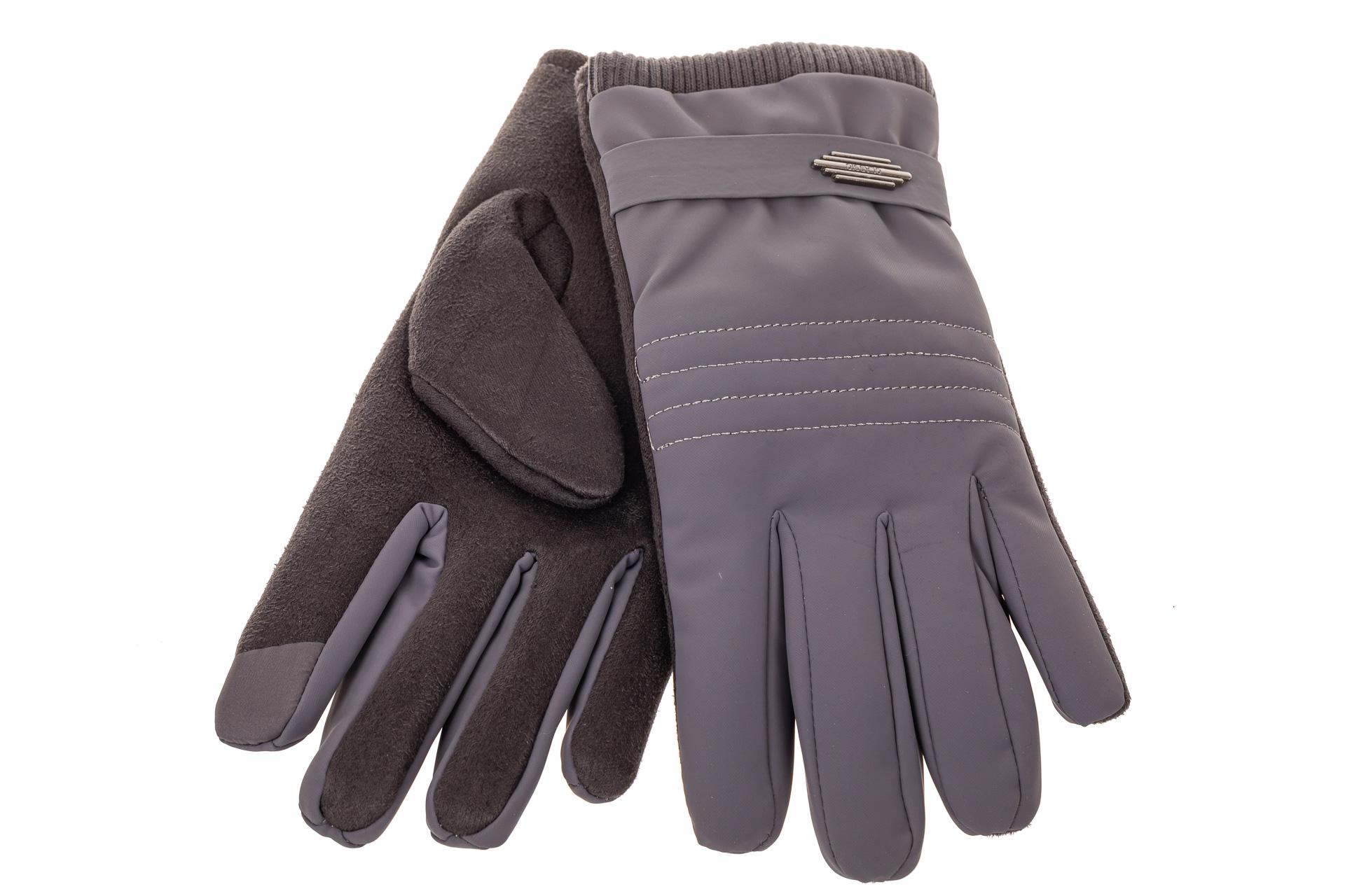 На фото 2 - Комбинированные перчатки мужские, цвет серо-синий