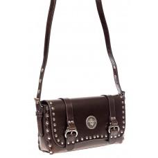 На фото 1 - Кожаная женская сумка, цвет коричневый