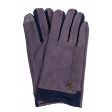 На фото 1 - Перчатки мужские из велюра, цвет серо-синий