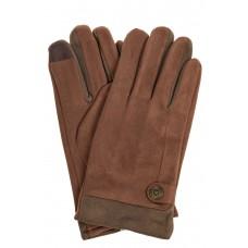 На фото 1 - Перчатки мужские из велюра, цвет коричневый