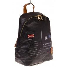 На фото черный эко рюкзак для женщин из материала Tyvek, оптом