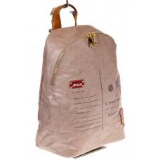 На фото бежевый эко рюкзак для женщин из материала Tyvek, оптом