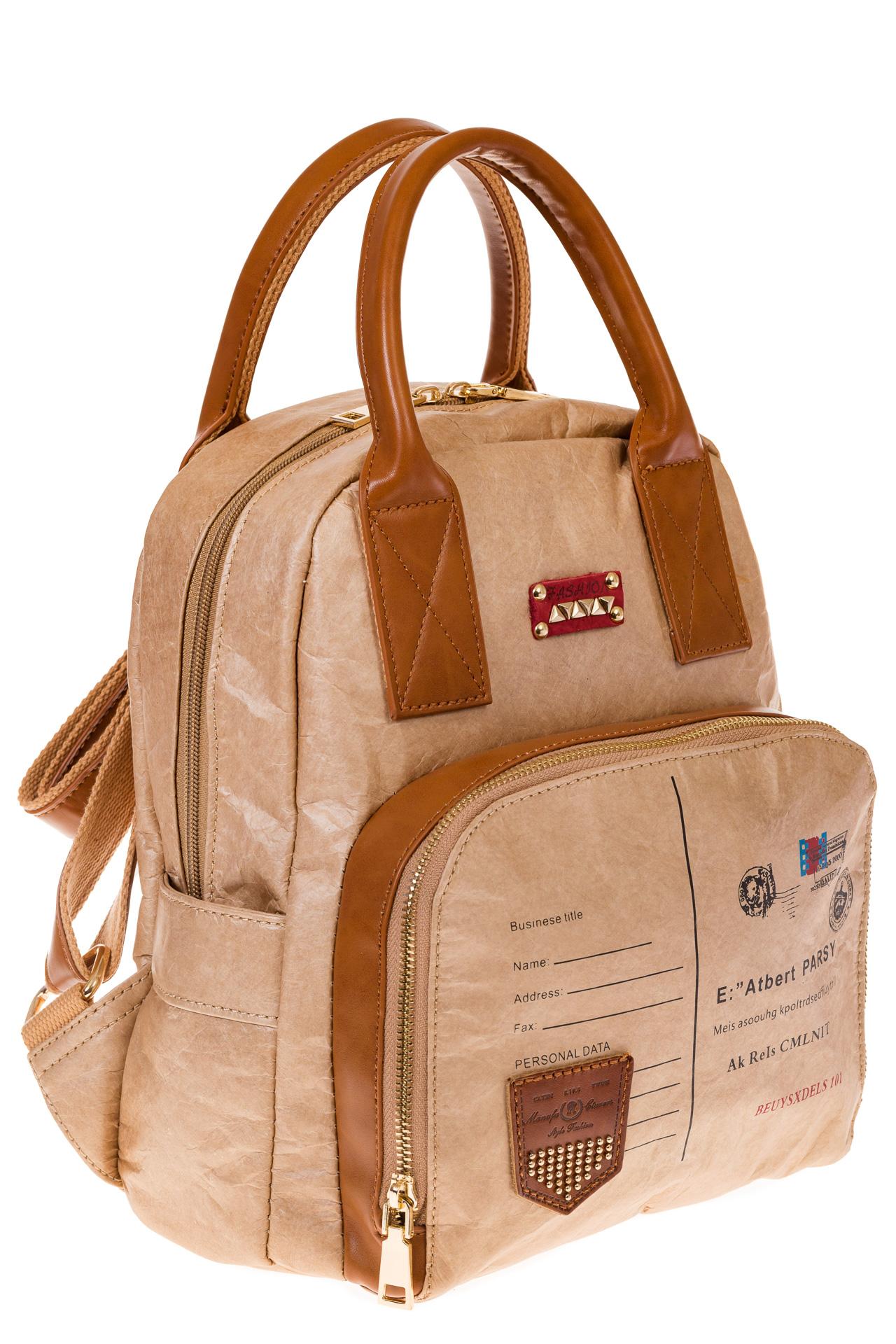 На фото бежевый женский рюкзак из материала тайвек, оптом