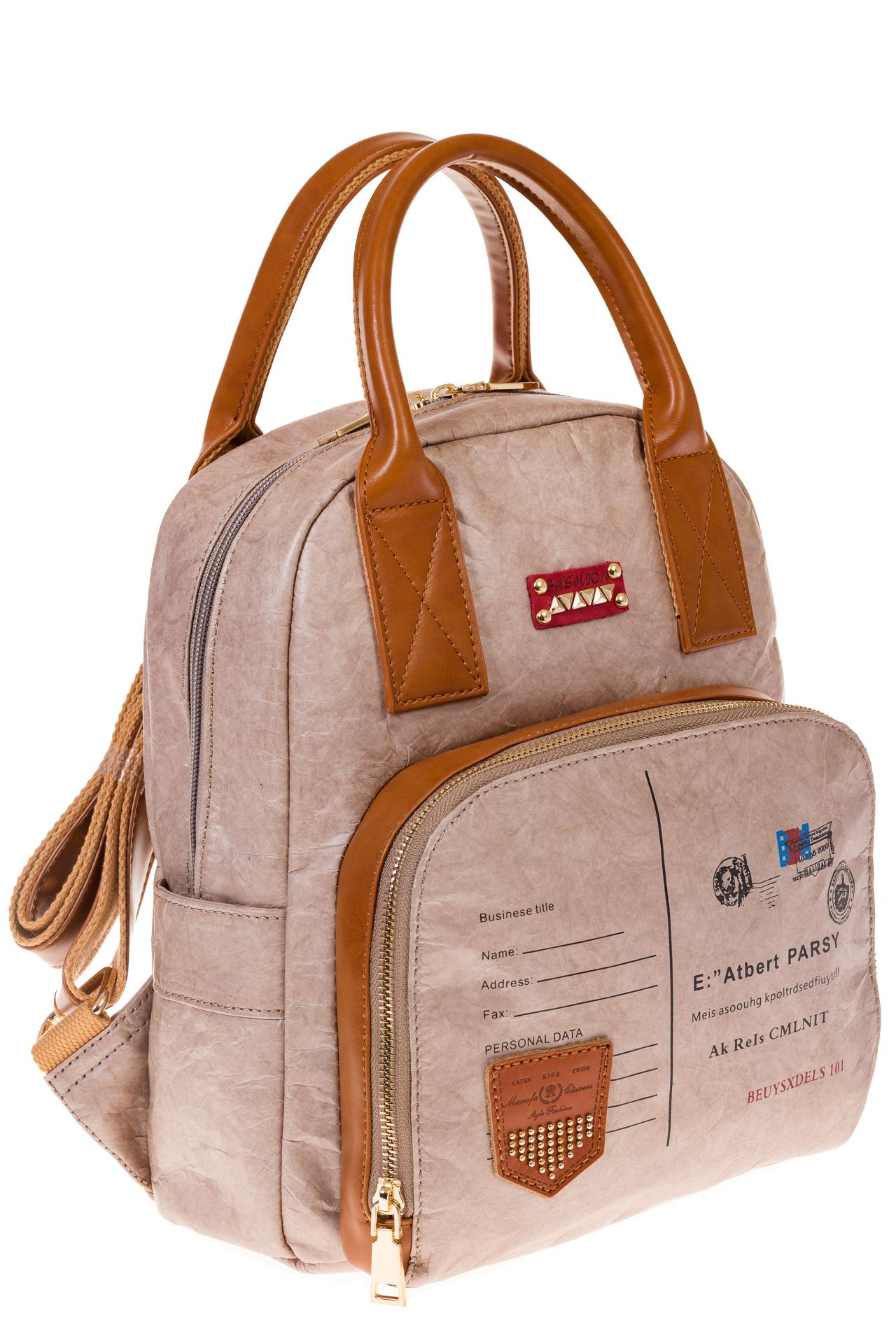 На фото серый женский рюкзак из материала тайвек, оптом
