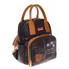 На фото черный женский рюкзак из материала тайвек, оптом