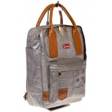 На фото серый женский рюкзак в эко-стиле из материала Tyvek, оптом