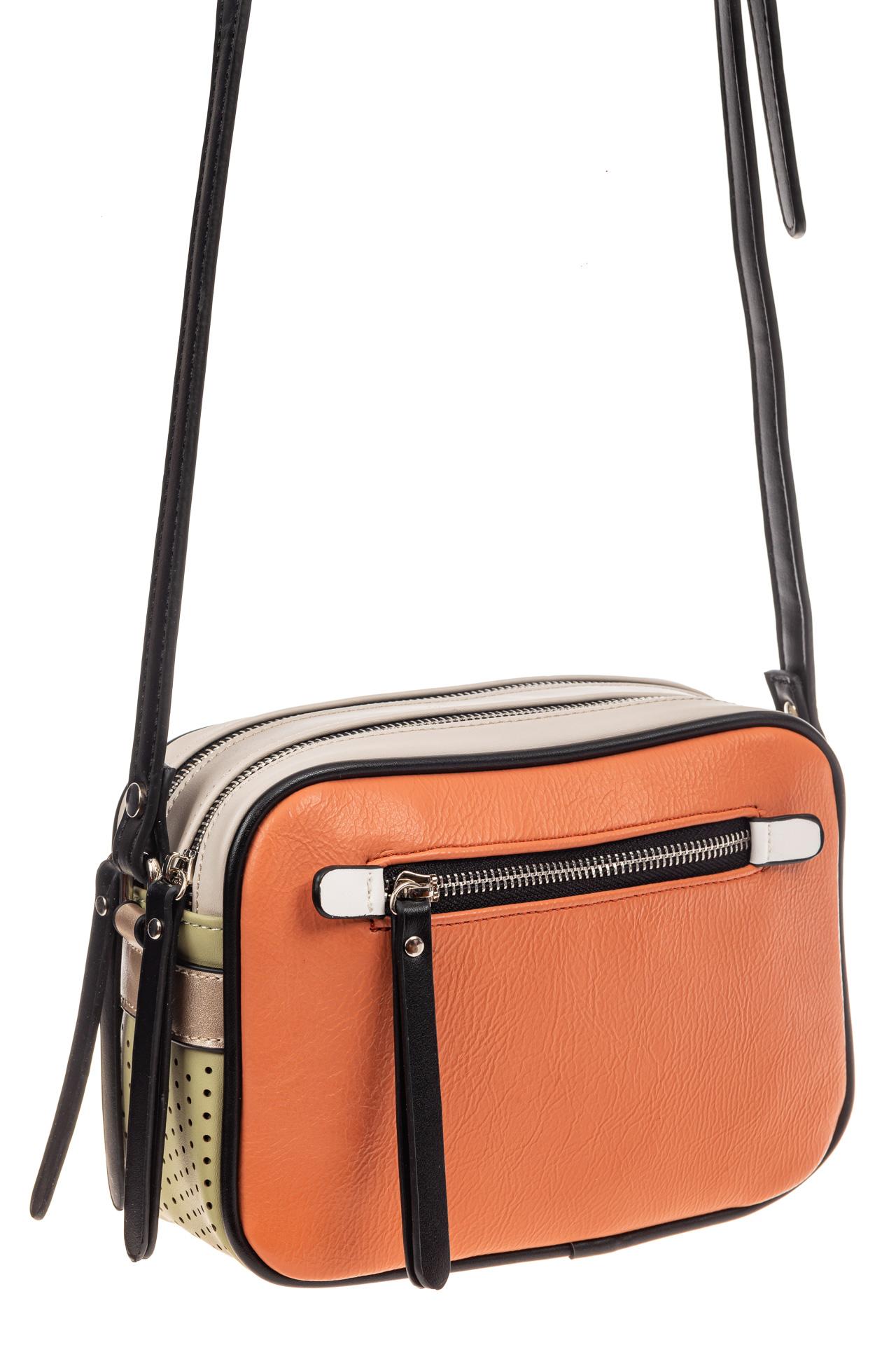 На фото 1 - Небольшая сумка купол из искусственной кожи, основной цвет оранжевый
