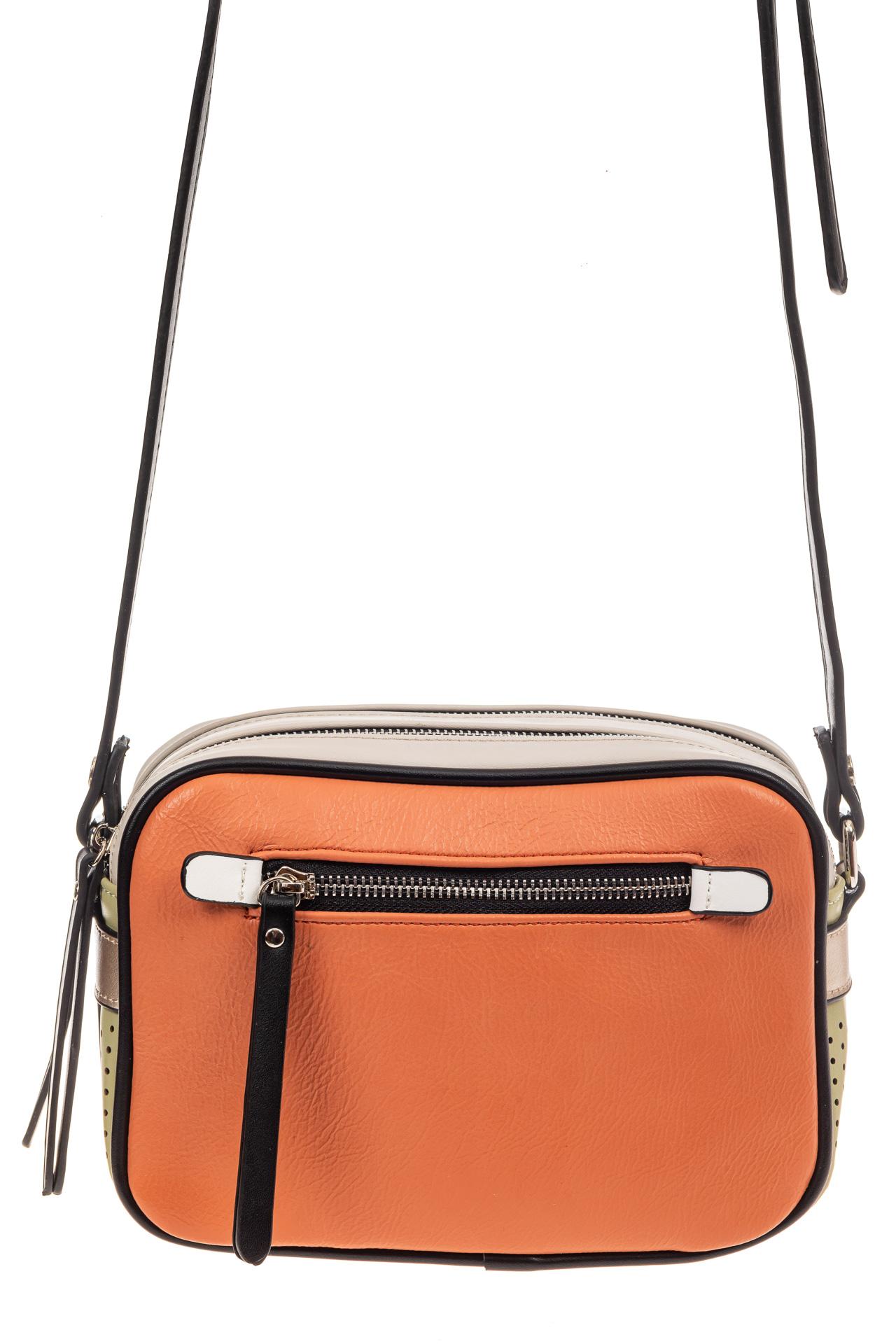 На фото 2 - Небольшая сумка купол из искусственной кожи, основной цвет оранжевый