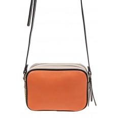 На фото 3 - Небольшая сумка купол из искусственной кожи, основной цвет оранжевый