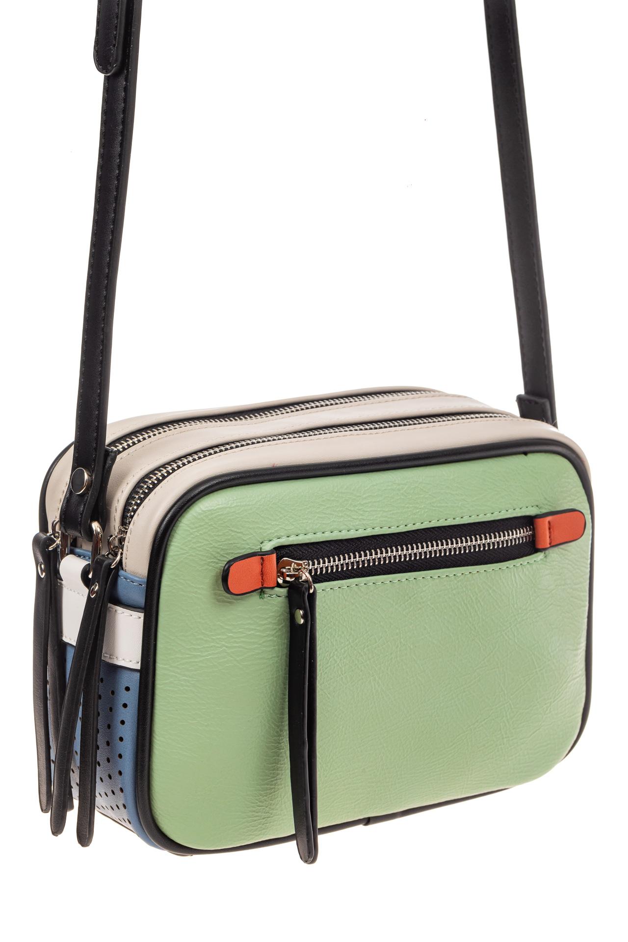 На фото 1 - Небольшая сумка купол из искусственной кожи, основной цвет зеленый