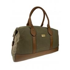 На фото 1 - Дорожная сумка из брезентовой ткани и искусственной кожи, цвет серый