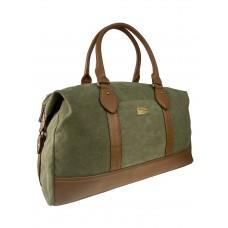 На фото 1 - Дорожная сумка из брезентовой ткани и искусственной кожи, цвет хаки