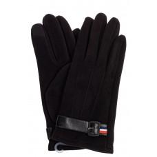 На фото 1 - Перчатки мужские из велюра, цвет черный