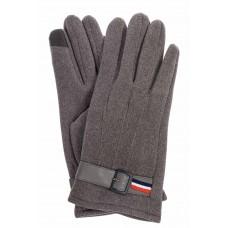 На фото 1 - Перчатки мужские из велюра с декоративным пояском, цвет серый
