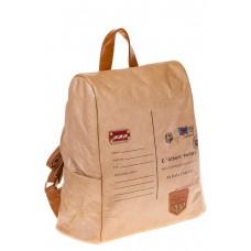 На фото кремовый женский рюкзак с системой антивор из крафт-серии, оптом