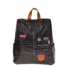 На фото 2 - Черный крафт-рюкзак с системой антивор