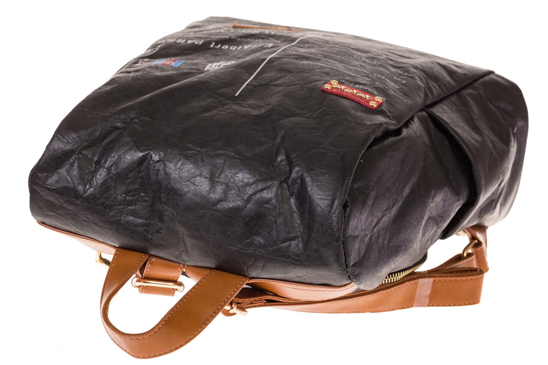 На фото 4 - Черный крафт-рюкзак с системой антивор