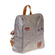 На фото серый женский рюкзак с системой антивор из крафт-серии, оптом